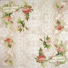 Lunch Napkins - Roses on lace Paper Napkins For Decoupage, Roses, Lunch, Shop, Pink, Lunches, Rose