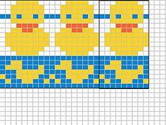 Ravelry: Rubber duck chart pattern by Sandra Jäger Fair Isle Knitting Patterns, Knitting Charts, Loom Knitting, Knitting Stitches, Free Knitting, Cross Stitch Baby, Cross Stitch Embroidery, Cross Stitch Designs, Cross Stitch Patterns