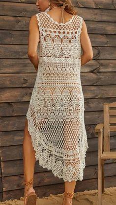 Thread Crochet, Diy Crochet, Crochet Top, Crochet Lace Dress, Crochet Bikini, Baby Dress Patterns, Crochet Patterns, Finger Crochet, Crochet Videos