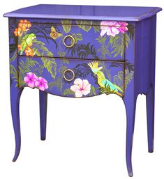 Vintage Furniture and Shabby Chic Purple Furniture, Funky Painted Furniture, Decoupage Furniture, Painted Chairs, Refurbished Furniture, Colorful Furniture, Art Furniture, Repurposed Furniture, Unique Furniture