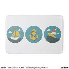 Beach Theme, Boats & Anchor Design Bath Mat Bath Mats