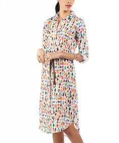 Look at this #zulilyfind! Orange & Green Raindrop Belted Tie-Waist Shirt Dress #zulilyfinds