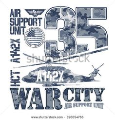 WAR CITY - Vector Graphics and typography t-shirt design for apparel. Varsity and camouflage. Helicopter.