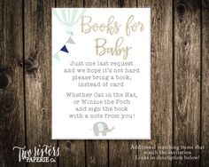 Elephant theme - Books for Baby Card - Elephant Baby Shower - Printable