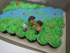 Dora/Diego cupcake cake By AmayasMommy on CakeCentral.com