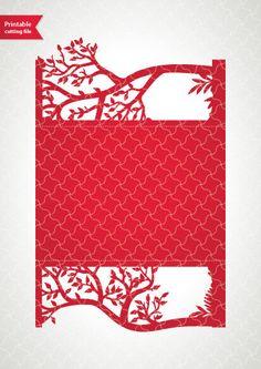 Tree wedding card Digital template (5x7\