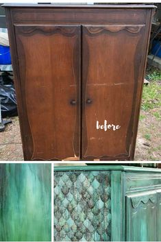 I saw lots of potential in this neglected wardrobe. I gave her a boho layered paint finish with mermaid scales and a love poem. Visit the blog for more details on the reveal and all of the details. #paintcouture #boho #layeredfurniture #mermaid #beachy