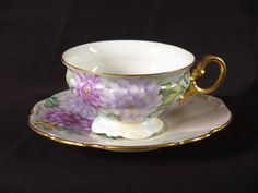 Hutschenreuther Selb teacup saucer vtg flower purple dahlia hand painted gold #Hutschenreuther