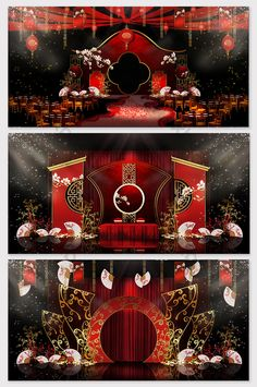 Modern minimalist fashion red Han and Tang Chinese wedding effect map Chinese Wedding Decor, Chinese Theme, Chinese New Year Decorations, New Years Decorations, Wedding Backdrop Design, Wedding Stage Design, Modern Minimalist Wedding, Minimalist Fashion, Karate Kid