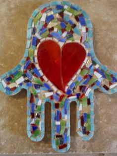 mosaic hamsa hand I made for Kristi