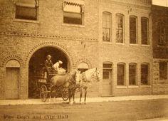 Old firehouse on South 2nd St., Fairfield, Iowa, circa 1900.