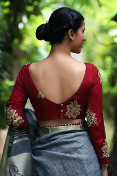 Top 58 Latest Back Blouse Design and Patterns For Sarees and Lehengas simple saree blouse back neck design Indian Blouse Designs, Saree Blouse Neck Designs, Stylish Blouse Design, Fancy Blouse Designs, Bridal Blouse Designs, Latest Blouse Designs, Saree Blouse Models, Choli Designs, Saree Blouse Patterns