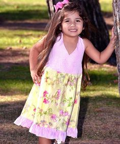 Loving this Pink & Yellow Rose Surplice Dress - Toddler & Girls on #zulily! #zulilyfinds