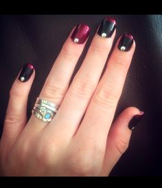 Black & Red Alternating French Manicure with Stud detail x