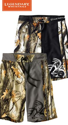 "Swim trunks or board shorts – this pair can handle both.  These God's Country® Camo Swim Shorts are made from a unique brushed 100% poly sateen fabric that's quick drying and resists fading.  Fully lined with a comfortable mesh interior, front drawstring ties, back elastic waistband, rear pocket with Velcro® closure and stitched drain hole in bottom pocket corner.  9½"" inseam."