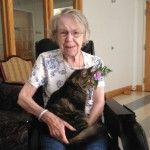 Mom's friend had a stroke and had been in the hospital for three weeks. We managed to bring her kitty in for a visit - they were inseparable.