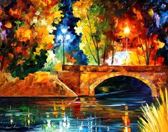 """BRIDGE OVER THE LIFE — PALETTE KNIFE Oil Painting On Canvas By Leonid Afremov - Size 30""""X24"""""""