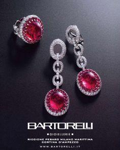 parure pezzo unico di rubellite cabochon e brillanti by Bartorelli Maison