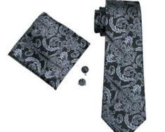 Elegantná kravatová sada - kravata + manžety + vreckovka, vzor 7.,