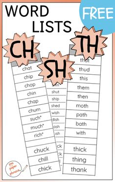 In need of a quick list of sh ch or th words? This free printable has one syllable (usually CVC pattern) words which use these consonant digraphs. And a fun game to play with them. Suitable for Kindergarten and First Grade. First Grade Spelling, Spelling Words List, First Grade Phonics, List Of Words, Word Family Activities, Spelling Activities, Montessori Activities, Word Families, Consonant Digraphs