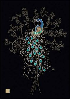 Blank Greeting Card - Peacock in a Tree - Embossed with gold  holographic foil by Bug Art, http://www.amazon.co.uk/dp/B005COUDM4/ref=cm_sw_r_pi_dp_Jrcstb1FCP6S4