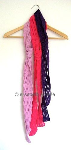 3 crochet long summer scarves - explanation and link to tutorial.