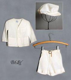 1940s Boys Vintage White Linen Suit