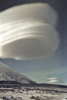 Spectacular Lenticular Cloud Formation over a Volcano in Kamchatka, Russia.