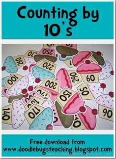 Counting by 10's Cupcake Cards {free download} www.doodlebugsteching.blogspot.com