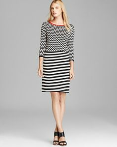 Weekend Max Mara Knit Dress - Love the top part, not so much about bottom. if those horizontal stripes are making the model look like she has a normal bottom, what do you think they could do to normal people?
