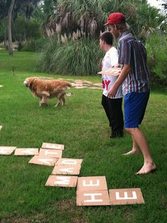 """Giant Outdoor Scrabble Game: There are 144 """"tiles."""" And I went ahead and found out how many of each letter you need. 2: J, K, Q, X, Z 3: B, C, F, H, M, P, V, W, Y 4: G 5: L 6: D, S, U 8: N 9: T, R 11: O 12: I 13: A 18: E"""