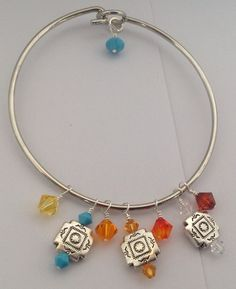 Swarovski wire wrapped Sonoran crystals bangle bracelet