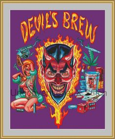 Devil gambling babe cross stitch pattern - Licensed Mitch O'Connell retro art Devil's Brew by UnconventionalX on Etsy