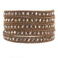 Metallic Light Gold Beaded Wrap Bracelet on Kansa Leather