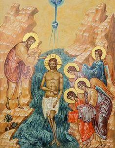 Baptism Of Christ, Jesus Christ, Byzantine Icons, John The Baptist, Orthodox Icons, Christian Art, Trinidad, Mystic, Saints
