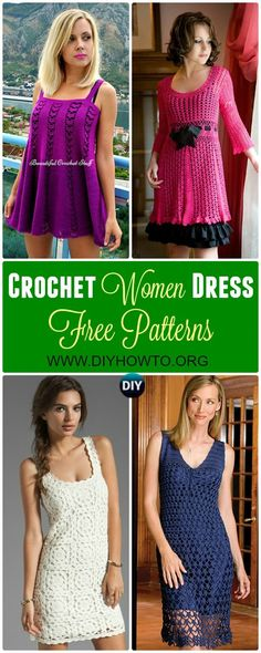 Collections of Crochet Women Dress: #Crochet; Long Dress for Ladies Spring and Summer Wear via @diyhowto