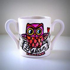 Owl Baby Mug Child's Name Hand Painted Ceramic Mug. I want one that says William with a blue owl.
