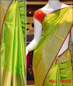 Simple yet elegant parrot green colour Mayuri soft silk saree with rich gold border and pallu. Aadi offer price for this saree is Rs/- 7,053.