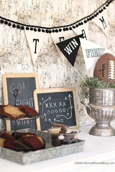 Great ideas for food, drinks, and decor for a football game day party.