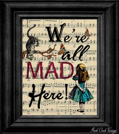 Alice In Wonderland Were All Mad Here Cheshire by rockcreekvintage, $7.25