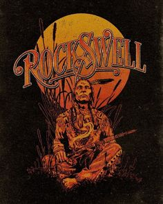 Illustration for Rockswell by artist Aaron von Freter. indian, native american, gig poster, rock poster, typography, smoke, marijuana, weed, rocknroll, rock and roll, custom type, lettering, graphic design, art, mother earth, band, peace pipe, music, vintage, t-shirt,