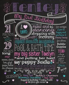 First Birthday Chalkboard Poster Sign for Birthday Parties - Customized Custom Printable File - Baby's First Birthday - Boy or Girl on Etsy, A Birthday Party, Boy First Birthday, Birthday Board, Birthday Photos, Birthday Ideas, Birthday Posters, Birthday Signs, Birthday Outfits, Special Birthday