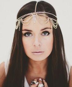 Super BoHo chic fourhead bridal headband with draping pearls and crystals...