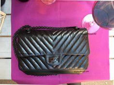 7fb360b3bda  Chanel so black  chevron 2.55  reissue flap bag with  mademoiselle lock in  vintage  distressed  lambskin