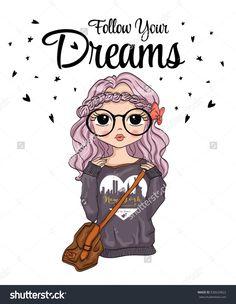 cute girl T-shirt Graphics/girl vector/girl pattern/girl graphic/girl illustration /Fashion girl