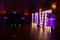 Gorgeous LOVE letters with the beautiful carnival lights by Mighty Fine Entertainment www.mfent.co.uk