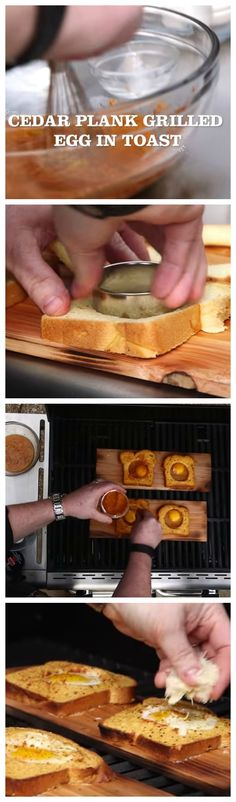 Upgrade a classic breakfast recipe by taking it to the grill. Cut holes in bread, dip in seasoning mixture, place on cedar planks, crack an egg and close the lid. Melt some smoked cheddar cheese on top to complete the perfect smoky weekend brunch recipe.