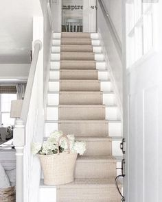 stair runner over white painted stairs Coastal Living Rooms, Staircase Remodel, Remodel, Staircase Design, Home Remodeling, Home, House Stairs, Hallway Designs, Stair Decor