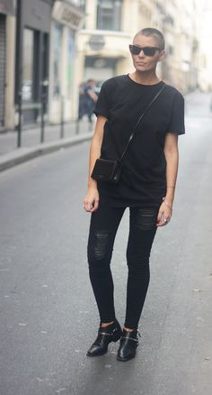 Style...Marie Murstad // outandaboutmarie // all black Scandi style //Jeans - Gestuz Shoes - Zara Tee - Tom Wood Bag - Saint Laurent Shades - Celine