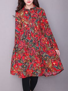 Floral Printed Turn-Down Collar Long Sleeve Loose Hem Chinese Style Women Coats